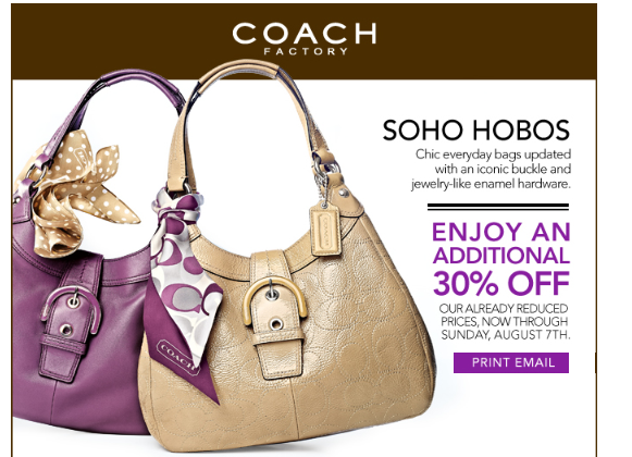 coupons for coach outlet jkro  Head on over and grab a coupon to use at the Coach Outlets This coupon is  for an Additional 30% off the lowest price at the Coach Outlet