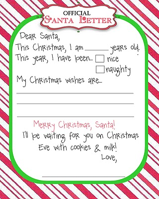 Dear santa wish list template