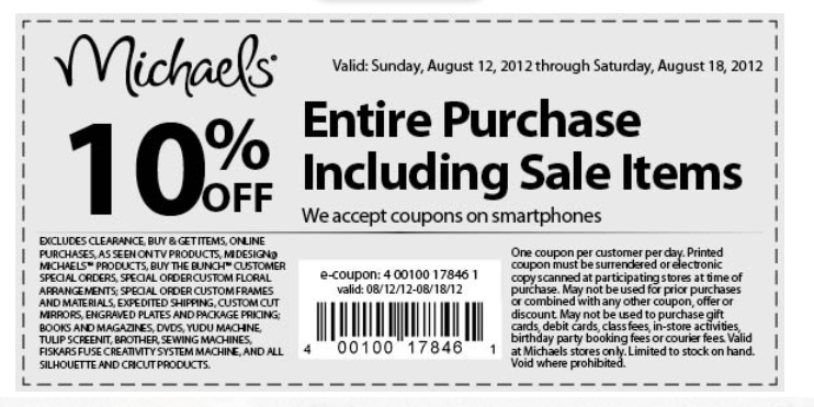 Craft stores michaels craft stores coupons for Ben franklin craft store coupons