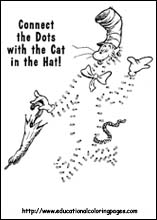 Free Connect The Dots Cat In Hat Worksheet 9 Other Dr Seuss Themed Coloring Sheets Found On Educational Pages
