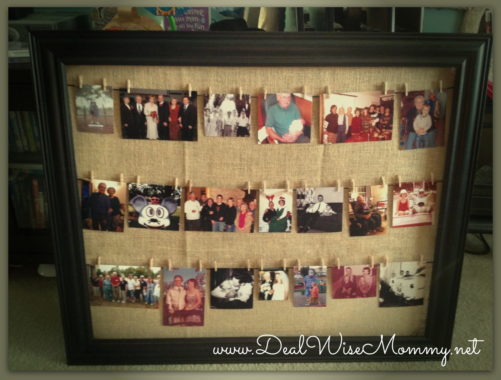 Homemade Clothesline Style Framed Photo Collage Deal